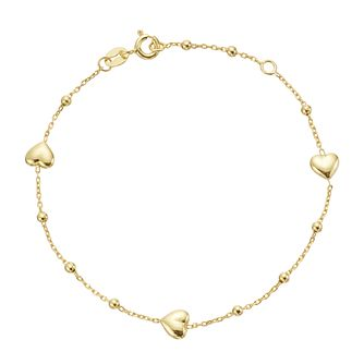 9ct Yellow Gold Heart & Ball Station Bracelet - Product number 3165418