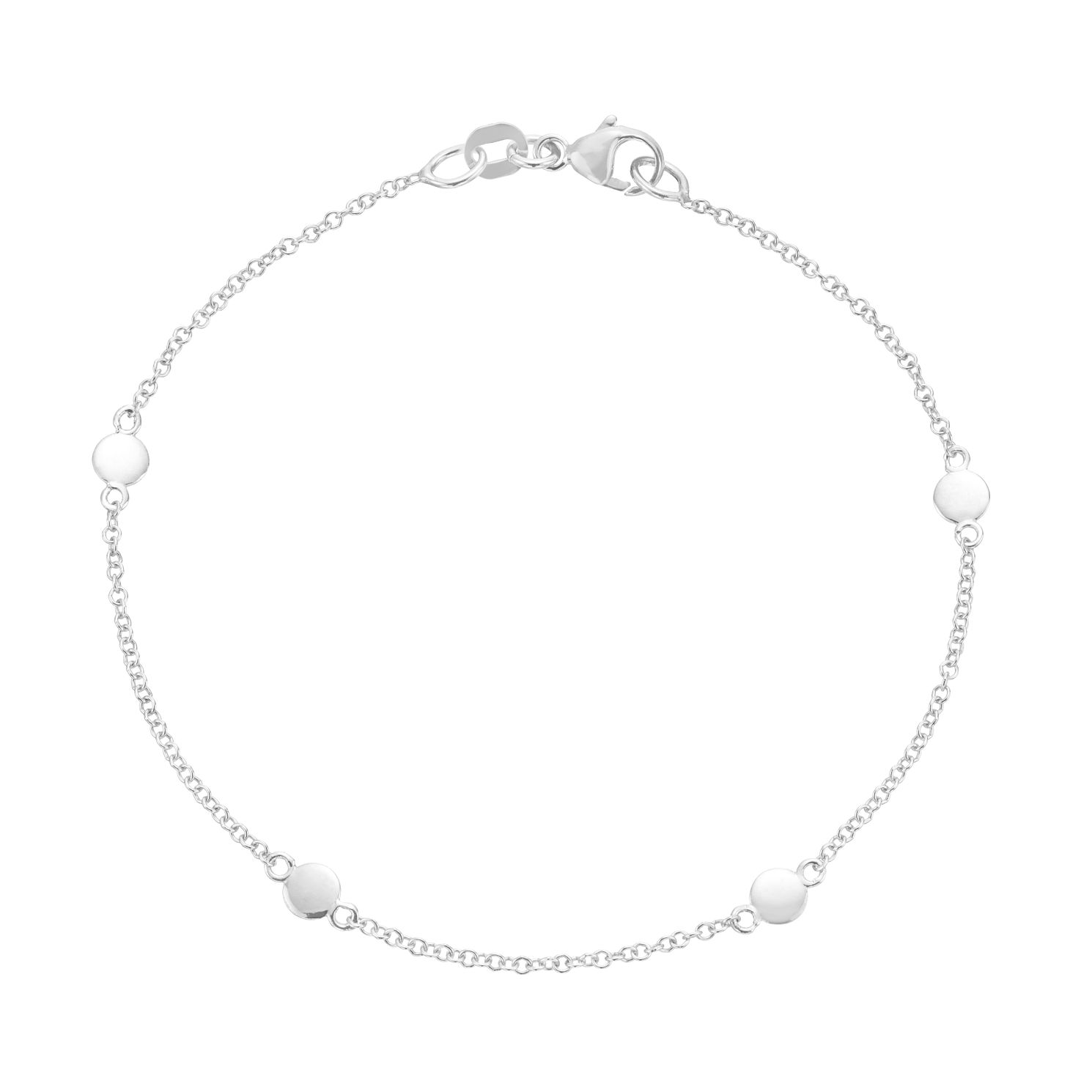 9ct White Gold Mini Disc Station Bracelet - Product number 3165442
