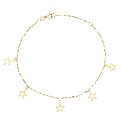 9ct Yellow Gold Star Charm Bracelet - Product number 3165825