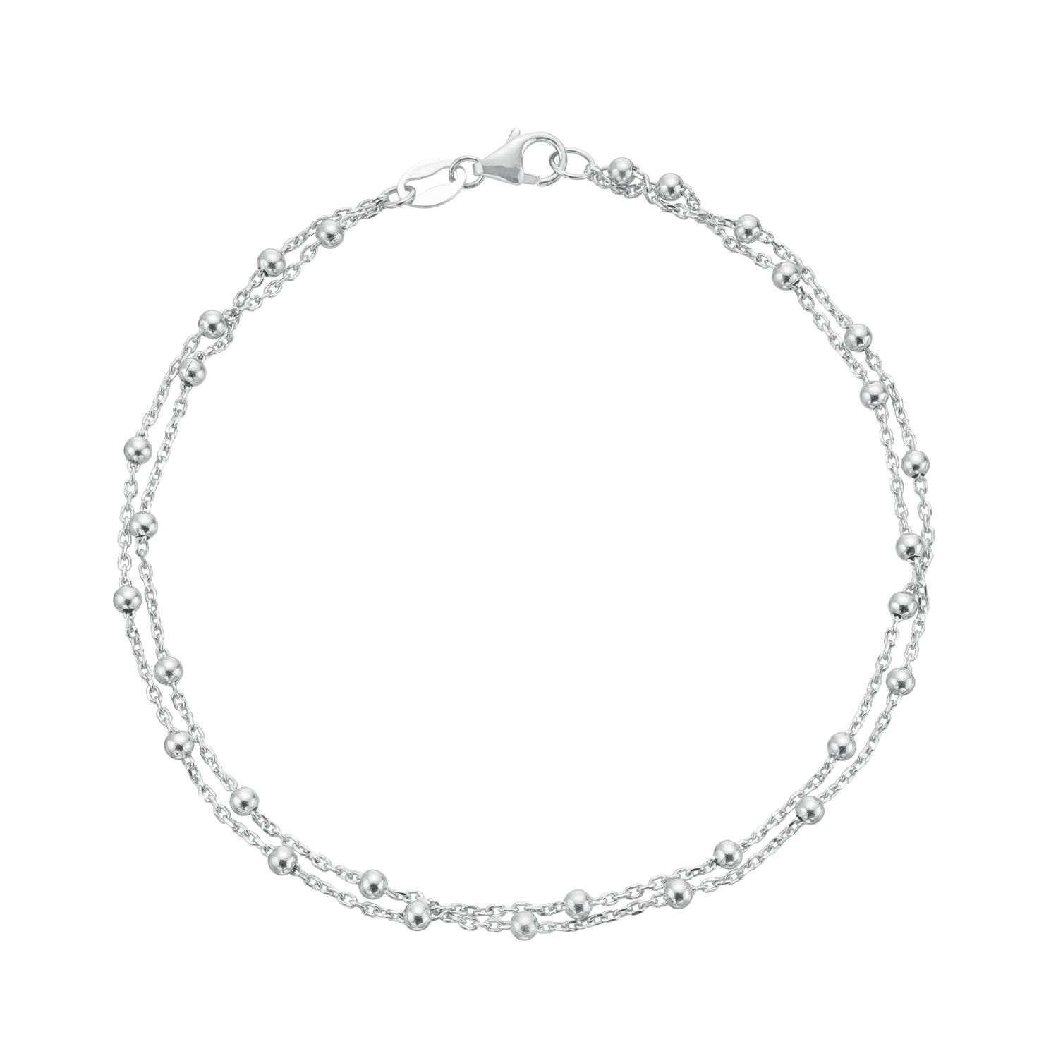 9ct White Gold Ball Station Double Chain Bracelet - Product number 3165833