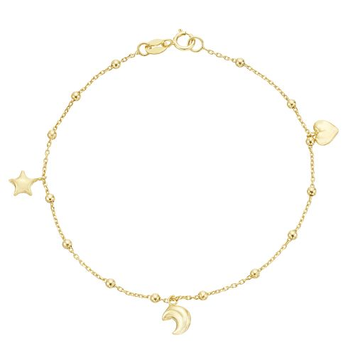 9ct Yellow Gold Star, Moon & Heart Charm Bracelet - Product number 3165876