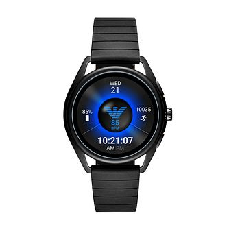 Emporio Armani Matteo Men's Black Rubber Strap Smartwatch - Product number 3166384