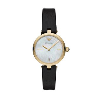 Emporio Armani Ladies' Black Leather Strap Watch - Product number 3166430