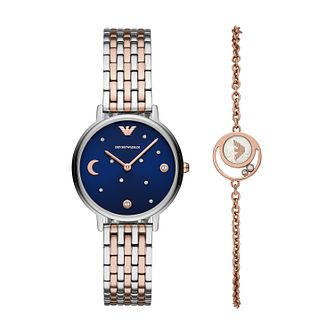 Emporio Armani Ladies' Two Tone Watch & Bracelet Gift Set - Product number 3166481
