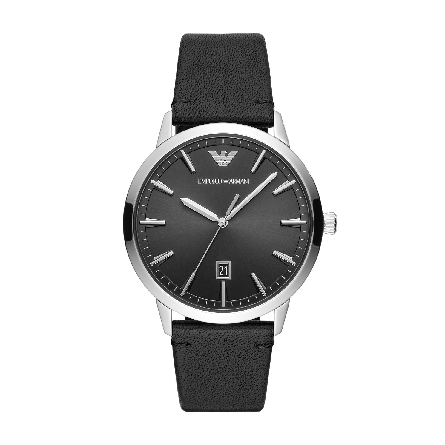 Emporio Armani Men's Black Leather Strap Watch - Product number 3166538
