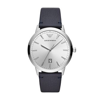Emporio Armani Men's Blue Leather Strap Watch - Product number 3166546