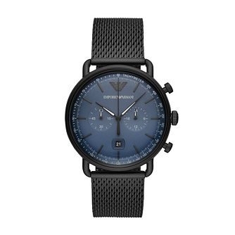 Emporio Armani Men's Chronograph Black Mesh Watch - Product number 3166554