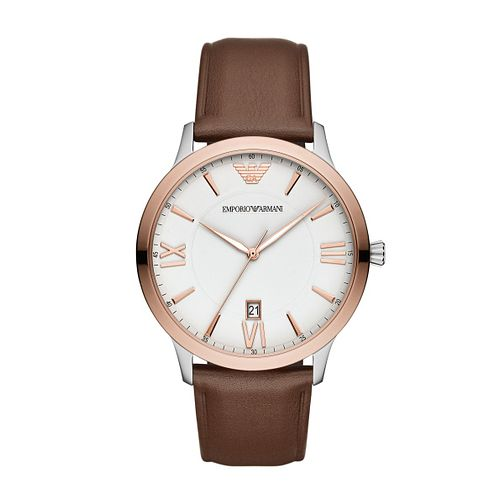 Emporio Armani Men's Brown Leather Strap Watch - Product number 3166562