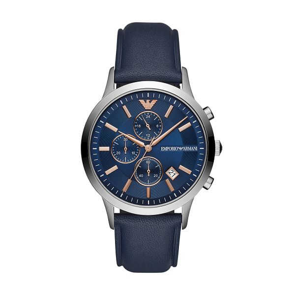Emporio Armani Men's Blue Leather Strap Watch - Product number 3166600