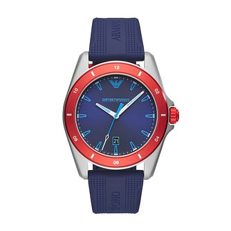 Emporio Armani Men's Blue Silicone Strap Watch - Product number 3166619