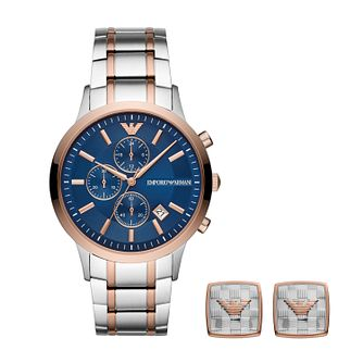 Emporio Armani Men's Two Tone Watch & Cufflink Gift Set - Product number 3166627