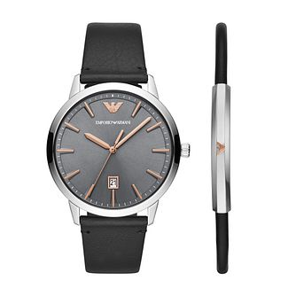 Emporio Armani Men's Leather Strap Watch & Bracelet Gift Set - Product number 3166635