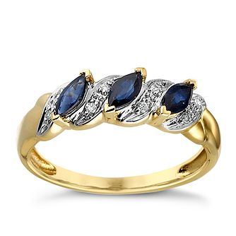 9ct Gold Sapphire & Diamond Ring - Product number 3172074