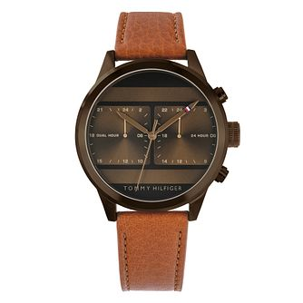 Tommy Hilfiger Icon Men's Brown Leather Strap Watch - Product number 3175960