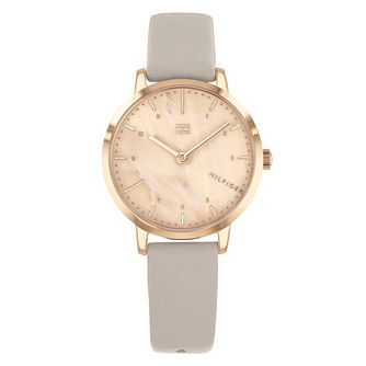 Tommy Hilfiger Lily Ladies' Grey Leather Strap Watch - Product number 3176126
