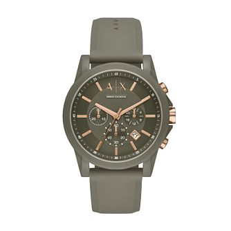 Armani Exchange Men's Green Silicone Strap Watch - Product number 3178536