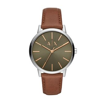 Armani Exchange Cayde Men's Brown Leather Watch - Product number 3178722