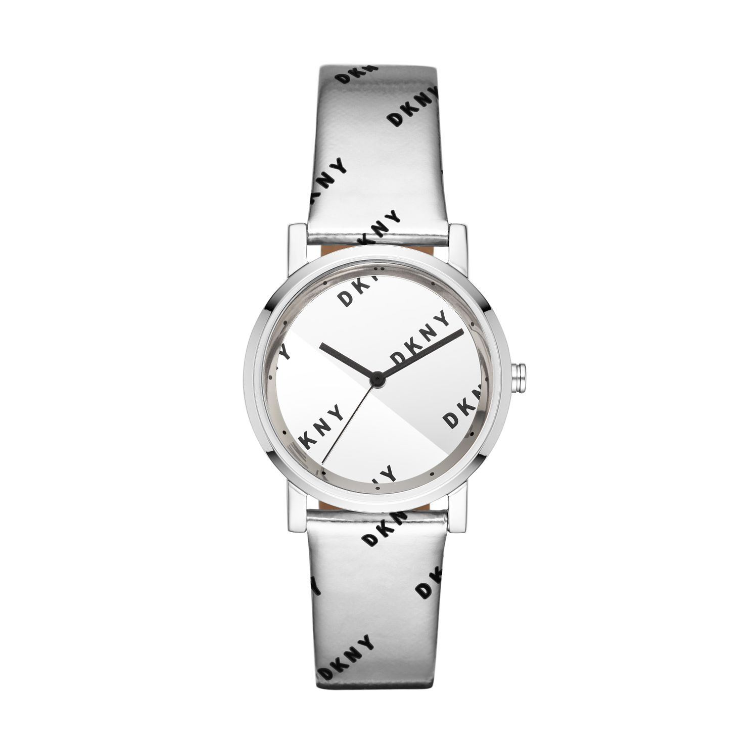DKNY Soho Ladies' Silver Leather Logo Strap Watch - Product number 3178978