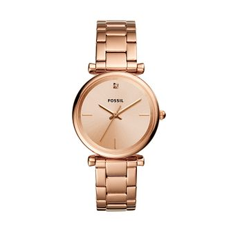 Fossil Carlie Ladies' Rose Gold Tone Bracelet Watch - Product number 3179508