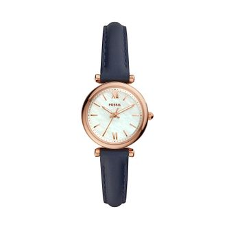 Fossil Carlie Mini Ladies' Navy Leather Strap Watch - Product number 3179559