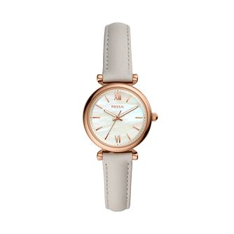 Fossil Carlie Mini Ladies' Grey Leather Strap Watch - Product number 3179591