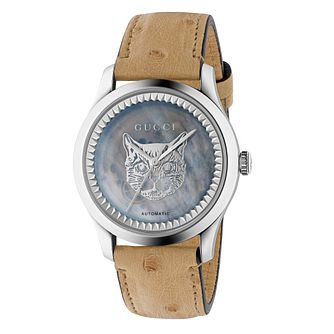 Gucci G-Timeless Automatic Tan Leather Strap Watch - Product number 3181596