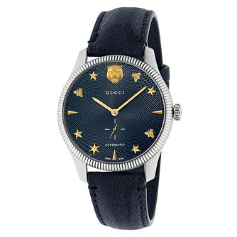 Gucci G-Timeless Automatic Blue Leather Strap Watch - Product number 3181626