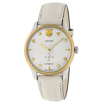 Gucci G-Timeless Automatic White Leather Strap Watch - Product number 3181634