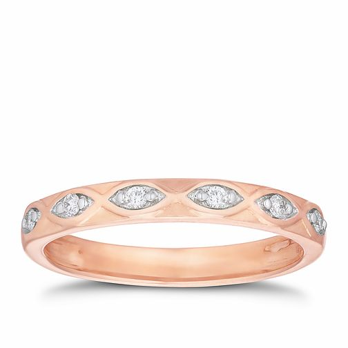9ct Rose Gold Diamond Marquise Straight Band - Product number 3191664