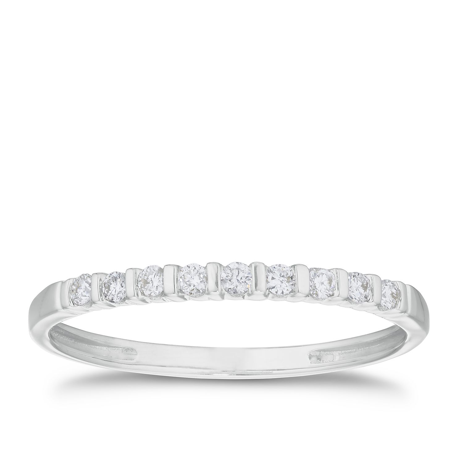 9ct White Gold 1/10 Diamond Straight Band - Product number 3191931