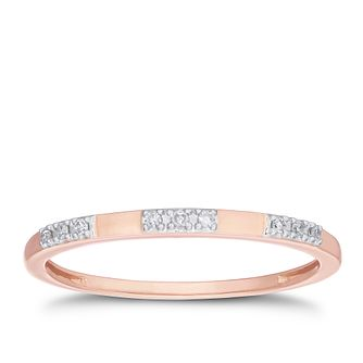 9ct Rose Gold Diamond Trio Station Band - Product number 3193268