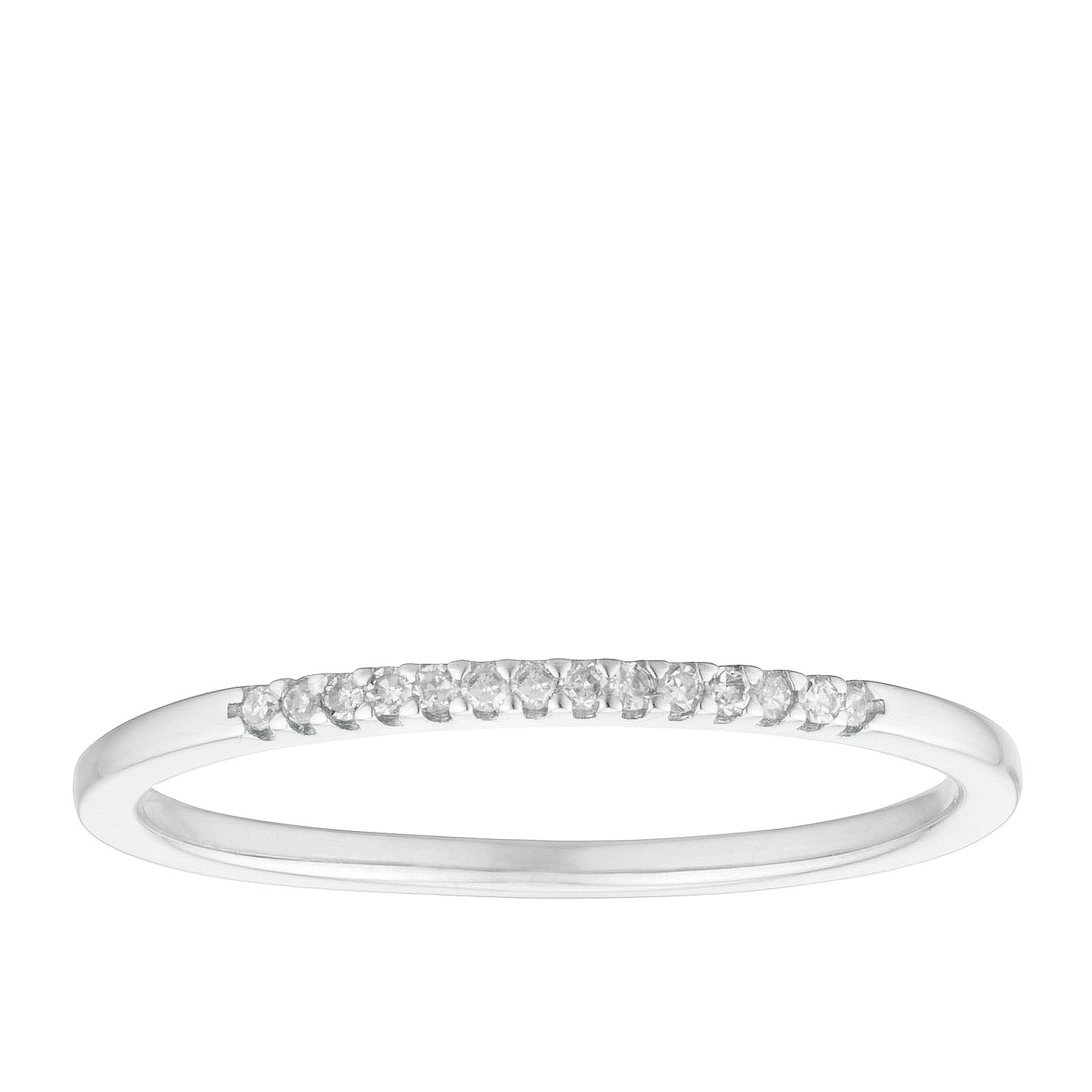 9ct White Gold Diamond Slim Straight Band - Product number 3193799