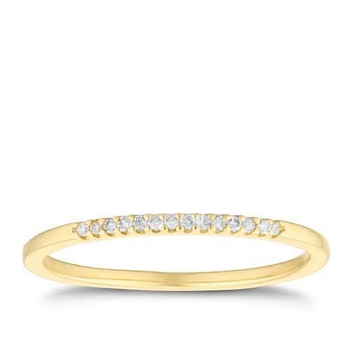 9ct Yellow Gold Diamond Slim Straight Band - Product number 3194299