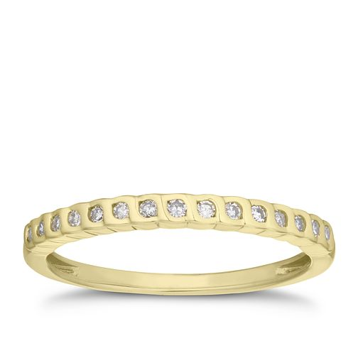 9ct Yellow Gold 1/10ct Diamond Rubover Band - Product number 3197336