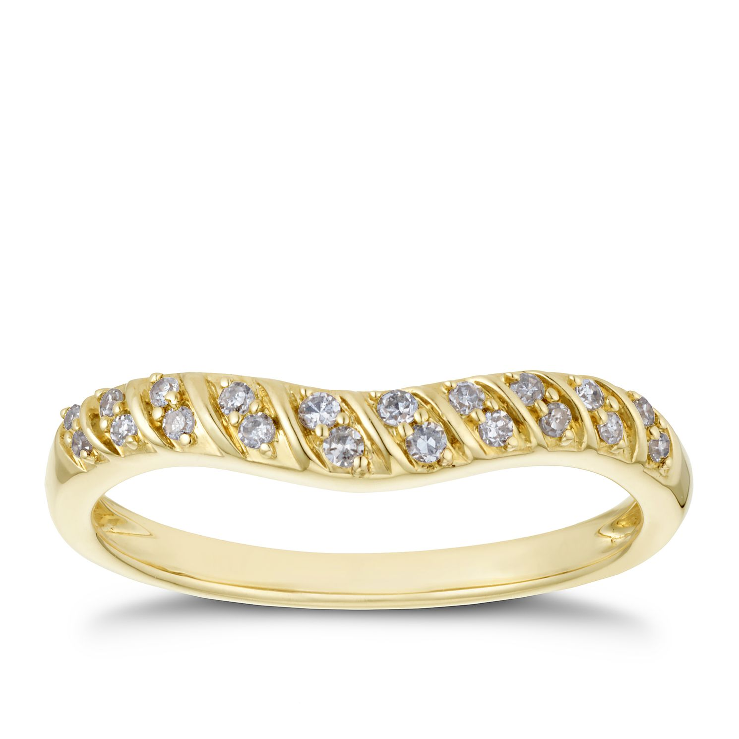 9ct Yellow Gold 0.12ct Diamond Stripe Design Shaped Band - Product number 3197638