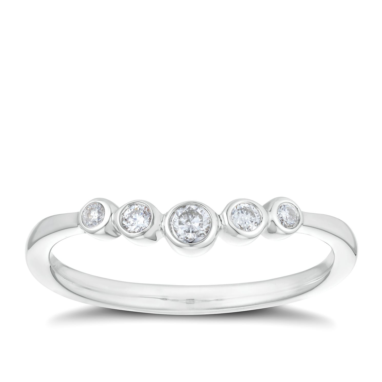9ct White Gold 0.11ct Diamond Round Shaped Band - Product number 3197913