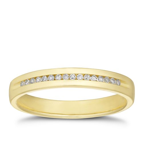 9ct Yellow Gold Diamond Channel Set Band - Product number 3199940