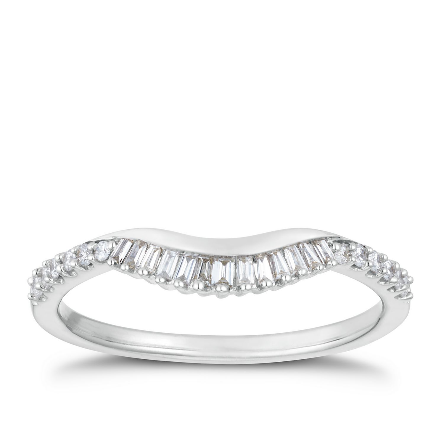 9ct White Gold 0.16ct Baguette & Round Diamond Shaped Band - Product number 3202372