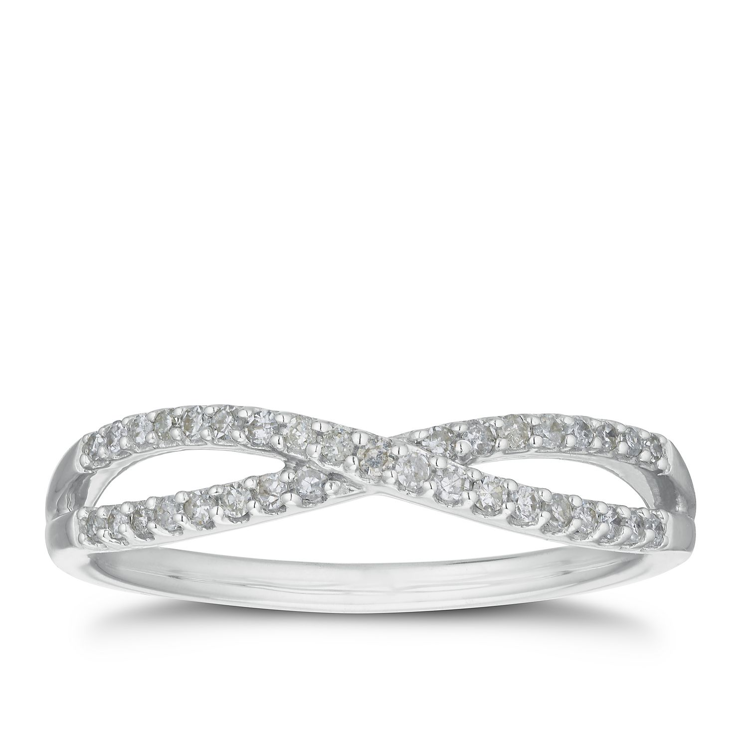 9ct White Gold 0.15ct Diamond Crossover Band - Product number 3202909
