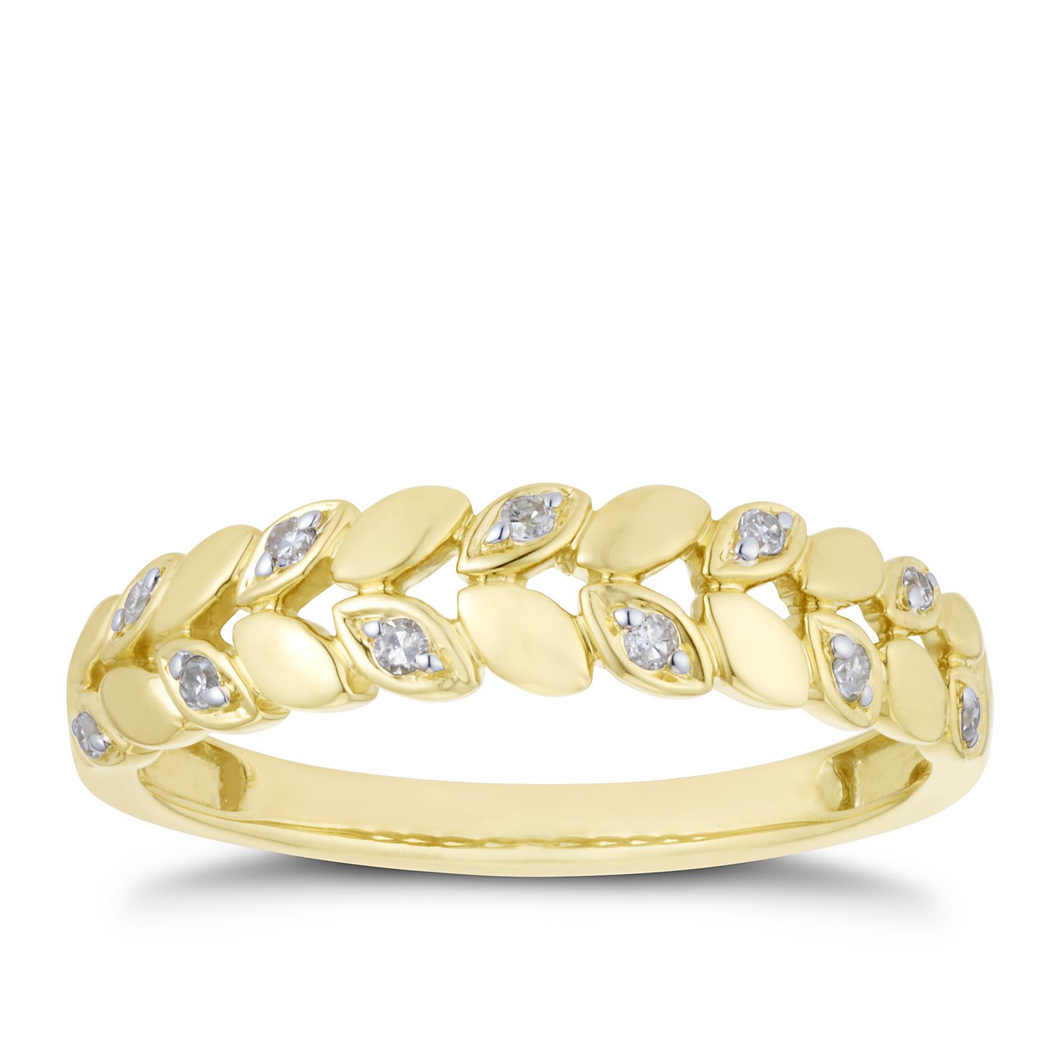 9ct Yellow Gold Diamond Leaf Shape Band - Product number 3203190