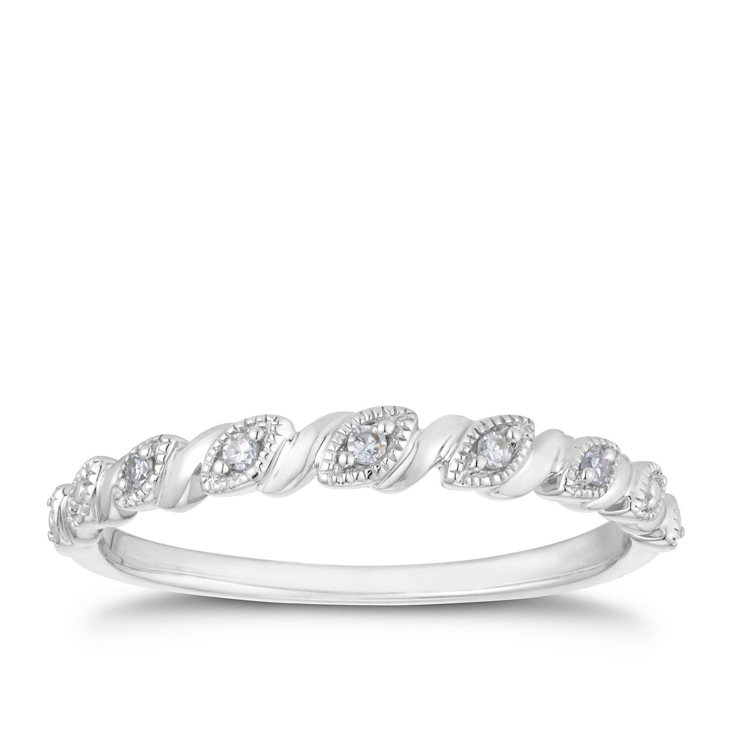 9ct White Gold Diamond Marquise Twist Band - Product number 3204804