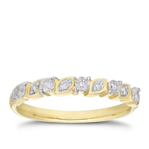 9ct Yellow Gold 0.24ct Round Diamond Marquise Straight Band - Product number 3205460
