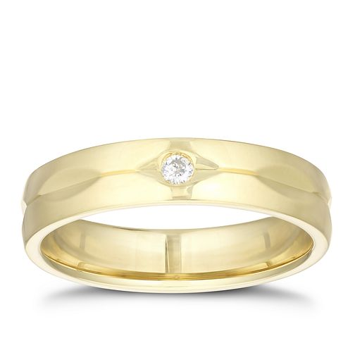 9ct Yellow Gold Diamond Groove Patten Ring - Product number 3207455