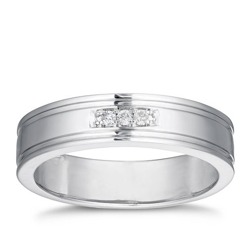 9ct White Gold Diamond Grooved Edge Band - Product number 3207617