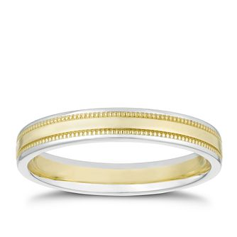 9ct White & Yellow Gold Milgrain Band - Product number 3208192