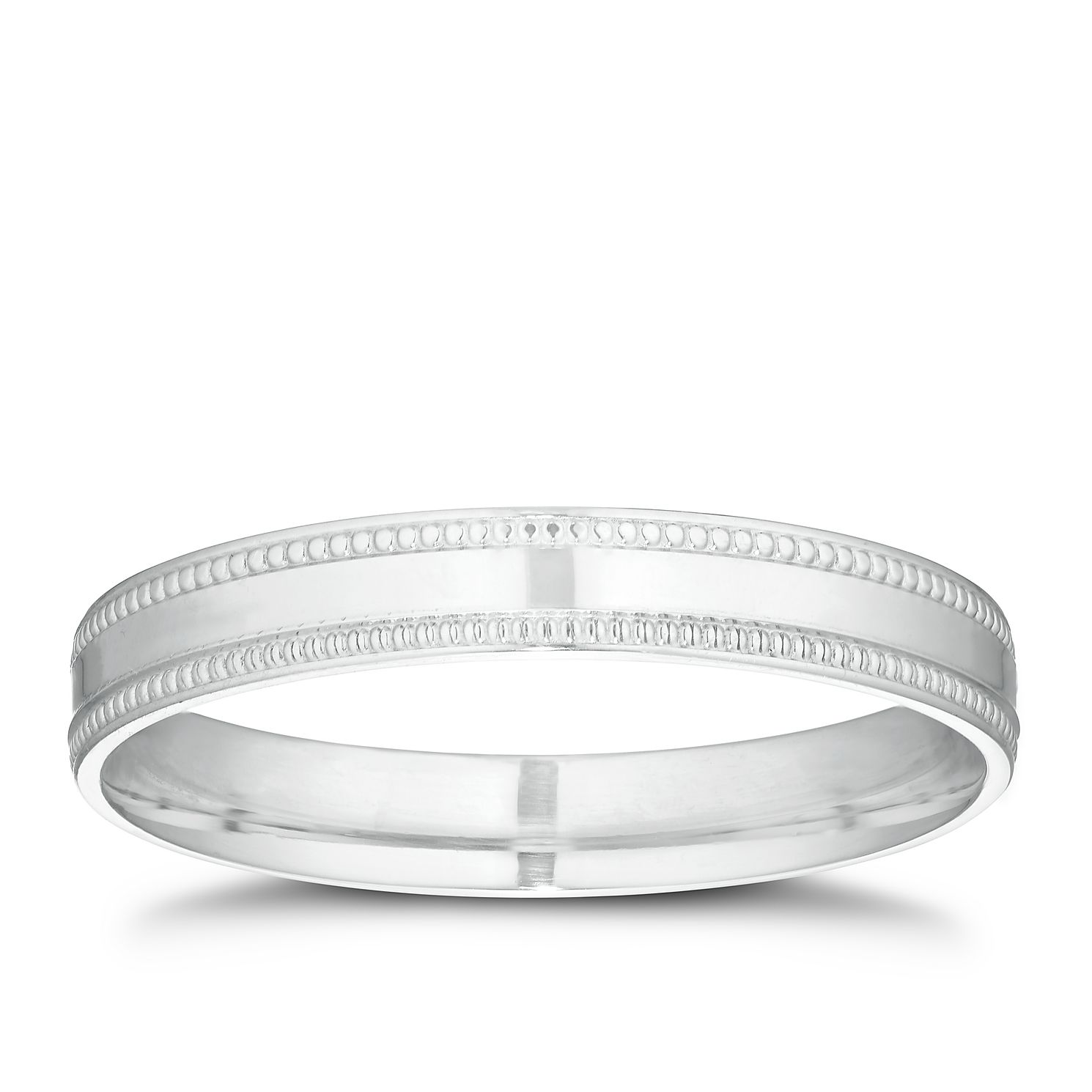 9ct White Gold Milgrain Band - Product number 3209733