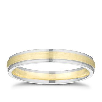 9ct White & Yellow Gold Brushed Centre Band - Product number 3211169