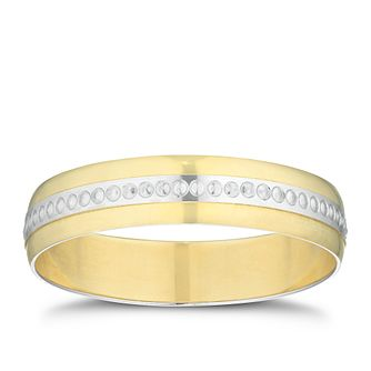 9ct Yellow Gold & Rhodium Milgrain Centre Band - Product number 3212556