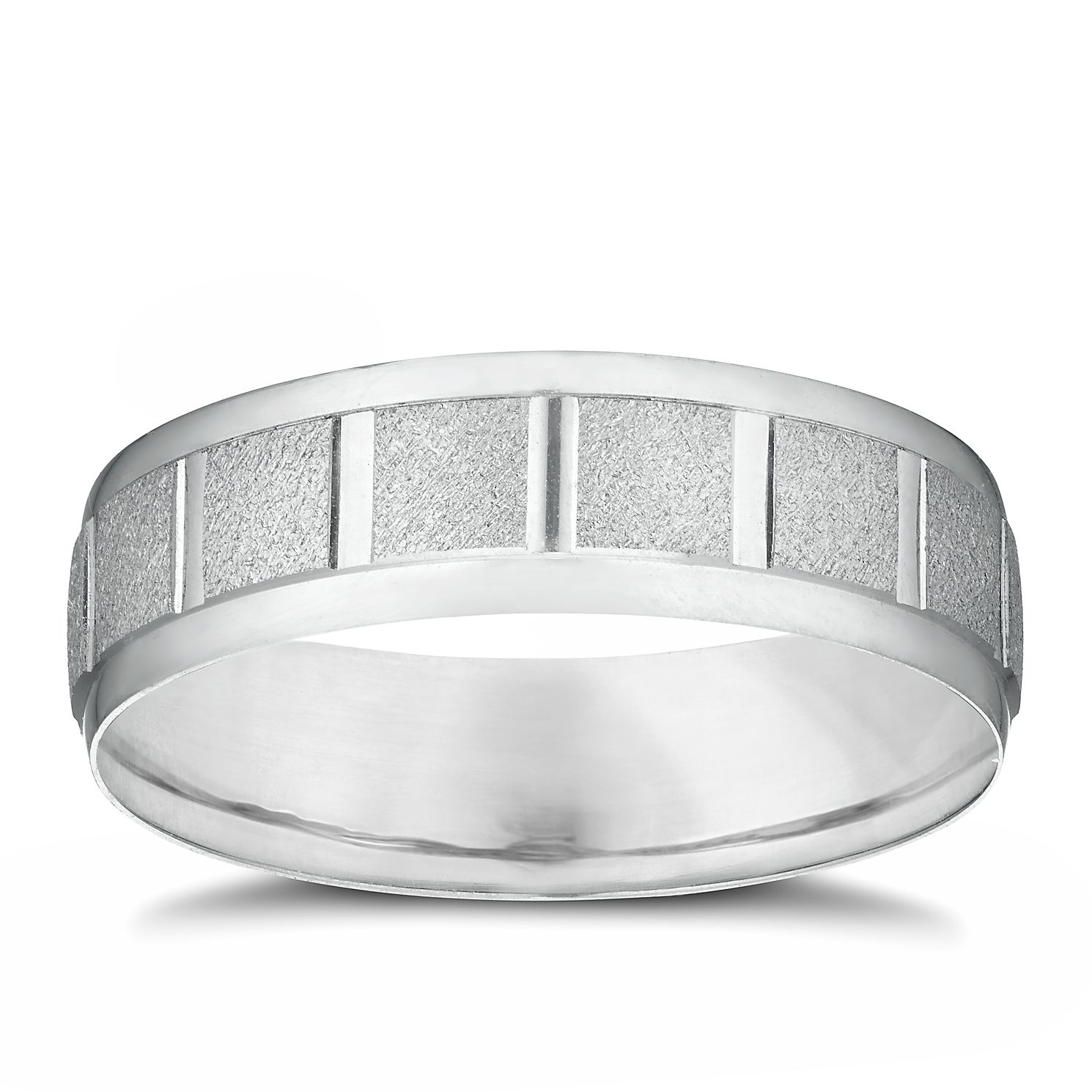 9ct White Gold Matt & Polished Square Patterned Band - Product number 3215253
