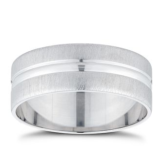 9ct White Gold Frosted & Polished Centre Band - Product number 3216497